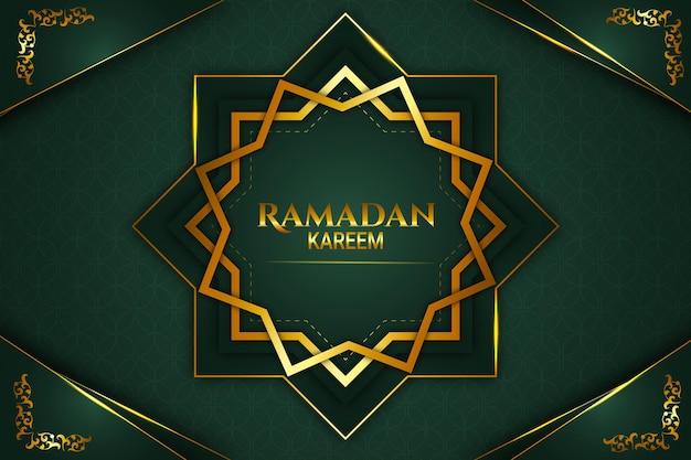 Luksusowy ramadan kareem kolor tła złoty i zielony