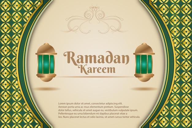 Luksusowy ramadan kareem kolor tła żółty zielony i kremowy