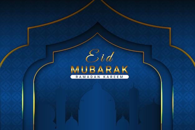 Luksusowy ramadan kareem niebieski kolor tła niebieski i złoty