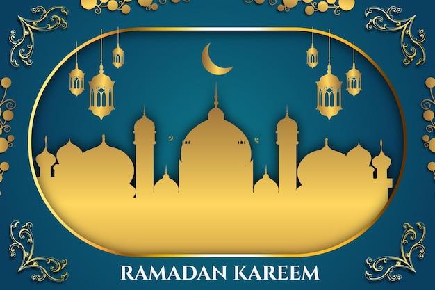 Luksusowy ramadan kareem złoty kolor tła meczetu niebieski i złoty