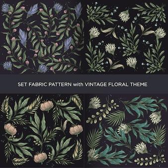 Luksusowy rocznika kwiatów wzór z ciemnym tłem