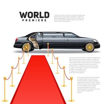 Luksusowy samochód limuzynowy i czerwony dywan na światowej premierze gwiazd i plakat gości