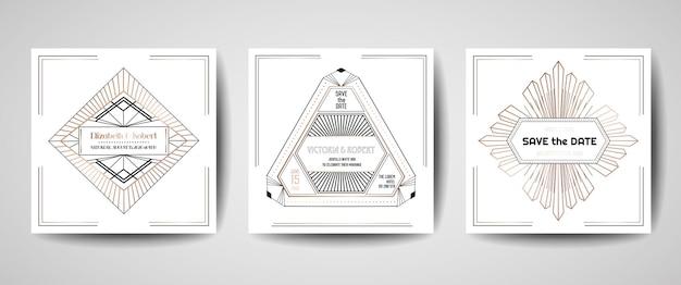 Luksusowy ślub w stylu art deco save the date, kolekcja zaproszeń ze złotymi geometrycznymi ramkami. wektor modna okładka, plakat graficzny, broszura gatsby 1920, szablon projektu