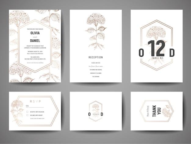 Luksusowy ślub zapisz datę, kolekcja zaproszeń z kwiatami ze złotej folii i szablon projektu wektor logo monogram