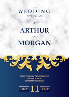Luksusowy ślubny zaproszenie z marmurowym tłem