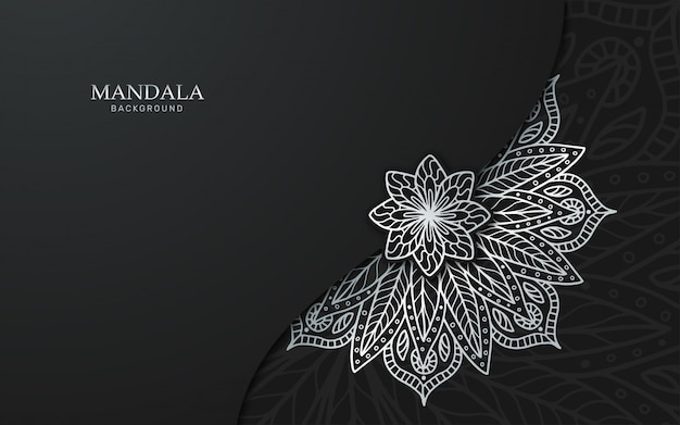 Luksusowy srebrny mandali tło