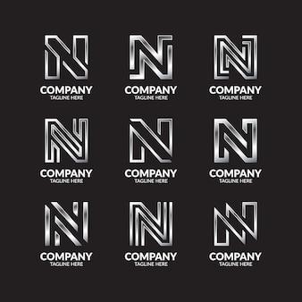 Luksusowy srebrny monogram litera n logo design collection