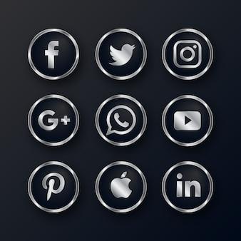 Luksusowy srebrny zestaw ikon mediów społecznościowych