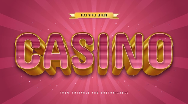 Luksusowy styl tekstu kasyna w kolorze czerwonym i złotym z wytłoczonym efektem 3d. edytowalny efekt tekstowy