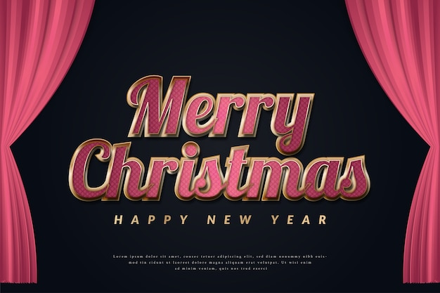 Luksusowy świąteczny baner z eleganckim tekstem na ciemnym tle i czerwonymi zasłonami