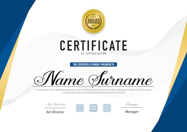 Luksusowy szablon certyfikatu i styl dyplomu