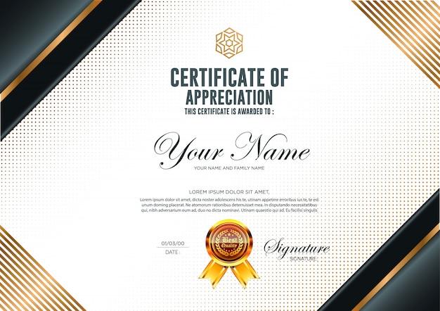 Luksusowy szablon certyfikatu.
