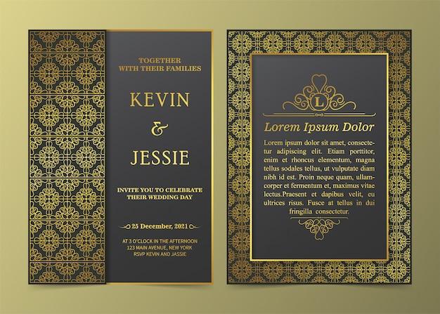 Luksusowy szablon karty zaproszenie złoty vintage