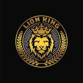 Luksusowy szablon logo króla lwa