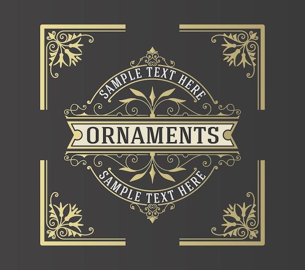 Luksusowy szablon logo kwitnie ornament linie.