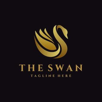 Luksusowy szablon logo łabędź