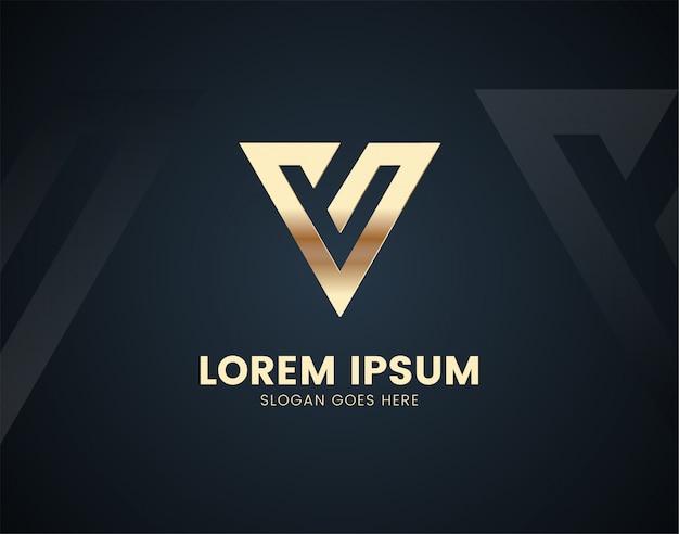 Luksusowy szablon logo litery v z efektami kolorystycznymi złota