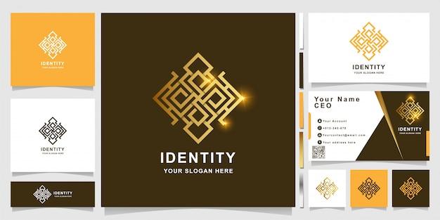 Luksusowy szablon logo ornament z projektem wizytówki.