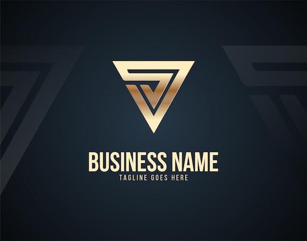 Luksusowy szablon logo streszczenie litery v z efektami kolorystycznymi złota