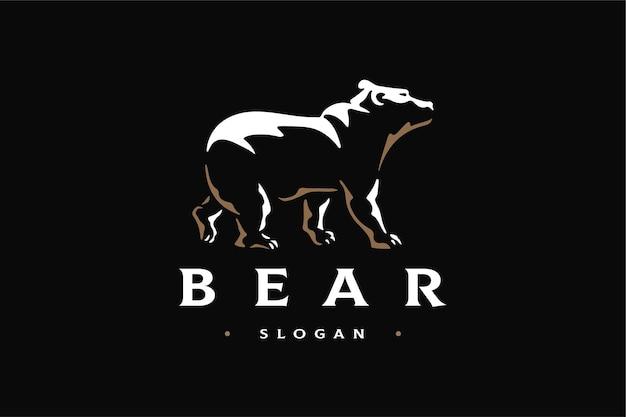 Luksusowy szablon marki logo niedźwiedź widok z boku