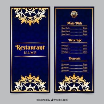 Luksusowy szablon menu ze złotymi ozdobami