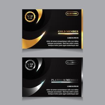Luksusowy szablon projektu karty vip złoty i platynowy