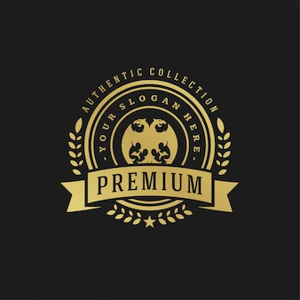 Luksusowy szablon projektu logo wiktoriańskie winiety kształty ornament królewski do projektowania logotypów lub odznak