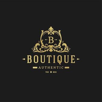 Luksusowy szablon projektu logo. wiktoriańskie winiety ozdobne kształty projektu.