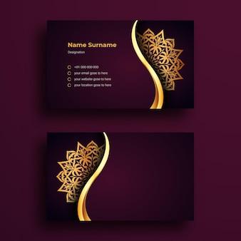 Luksusowy szablon projektu wizytówki z ozdobną mandalą