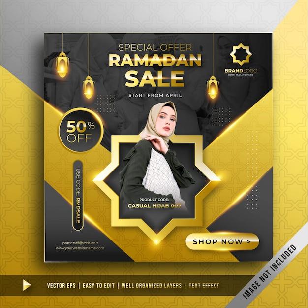 Luksusowy szablon promocyjny złota sprzedaż ramadan square banner