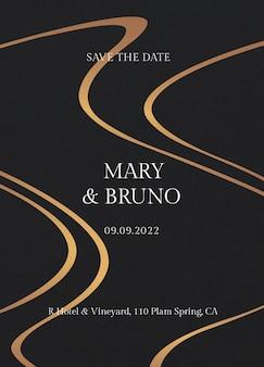 Luksusowy szablon zaproszenia na ślub w czerni i złocie