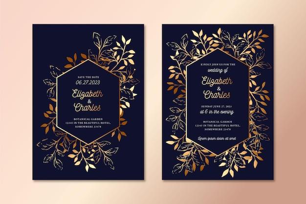 Luksusowy szablon zaproszenia ślubne szczegóły