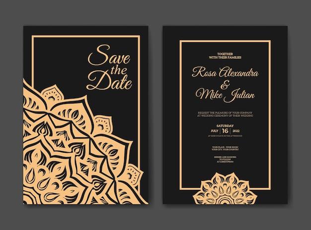 Luksusowy szablon zaproszenia ślubne z mandalą