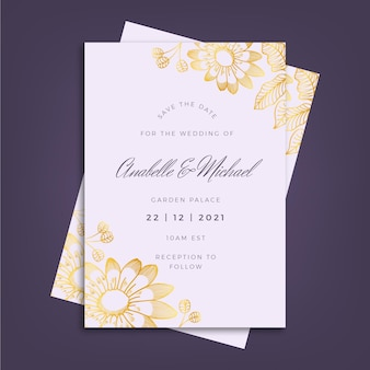Luksusowy szablon zaproszenia ślubne ze złotymi elementami