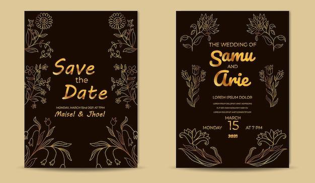 Luksusowy szablon zaproszenia ślubne ze złotymi kwiatami linii