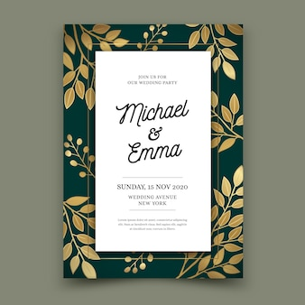 Luksusowy szablon zaproszenia ślubne