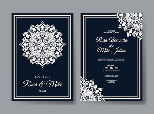 Luksusowy szablon zaproszenia ślubnego z dekoracją mandali