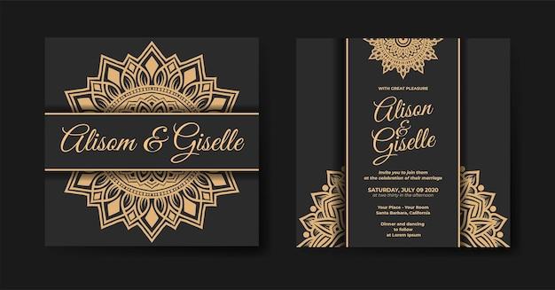 Luksusowy szablon zaproszenia ślubnego z ornamentem dekoracyjnym mandali