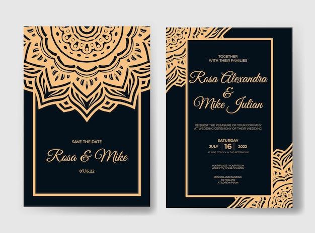 Luksusowy szablon zaproszenia ślubnego z ornamentem mandali