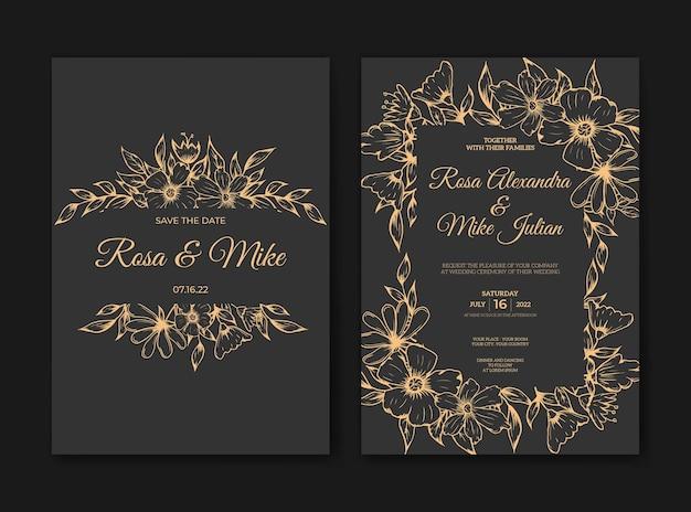 Luksusowy szablon zaproszenia ślubnego z ręcznie rysowanym konturem kwiatowym