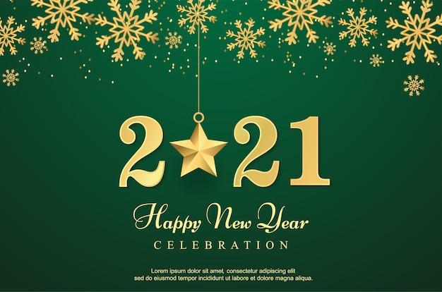Luksusowy szczęśliwego nowego roku 2021 z gwiazdą w tle.