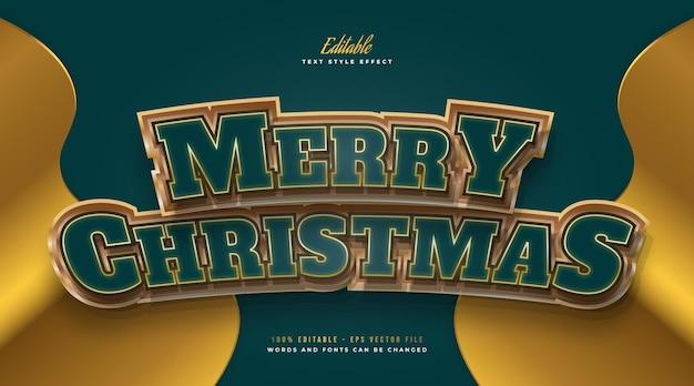 Luksusowy tekst wesołych świąt w kolorze zielonym i złotym z zakrzywionym efektem 3d. edytowalny efekt stylu tekstu
