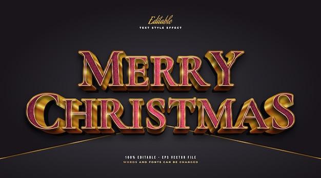 Luksusowy tekst wesołych świąt w stylu czerwonym i złotym z efektem 3d i teksturą. edytowalny efekt stylu tekstu