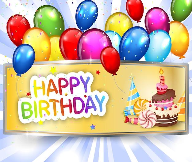 Luksusowy urodzinowy tło z kolorowymi balonami