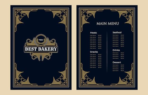 Luksusowy vintage piekarnia sklep szablon karty menu żywności okładka z logo dla hotelowej kawiarni barowej kawiarni