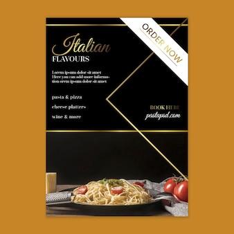 Luksusowy włoski szablon ulotki pionowej żywności