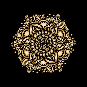Luksusowy wzór mandali złoty ornament