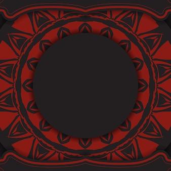 Luksusowy wzór pocztówki w czarnym kolorze z czerwonymi greckimi wzorami. karta zaproszenie wektor z miejscem na twój tekst i streszczenie ornament.