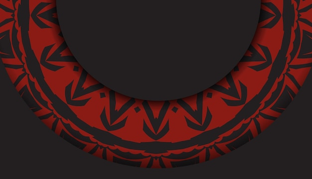 Luksusowy wzór pocztówki w czarnym kolorze z czerwonymi greckimi wzorami. projekt karty zaproszenie z miejscem na twój tekst i streszczenie ornament.