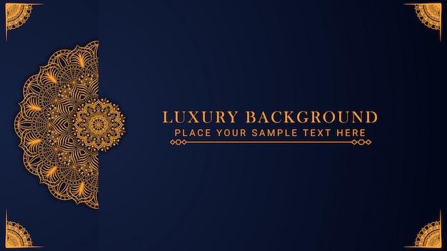 Luksusowy wzór tła mandali w stylu wschodnim złoty wzór